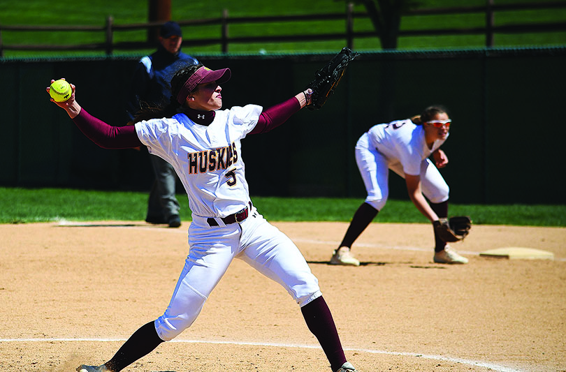 Abby+Wild+is+seen+pitching+this+past+Saturday+against+Indiana+University+of+Pennsylvania.+The+Sophomore+pitcher+pitched+six+innings+of+shutout+ball.