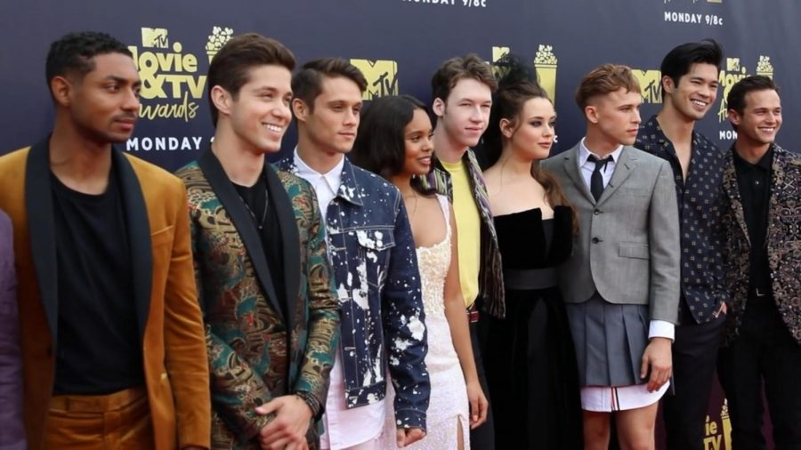 Cast at Red Carpet Premiere, from left to right: Stephen Silver, Brando Larracuente, Timothy Granaderos, Alishaa Boe,  Devin Druid, Katherine Langford,  Tommy Dorfman,  Ross Butler, and Brandon Flynn