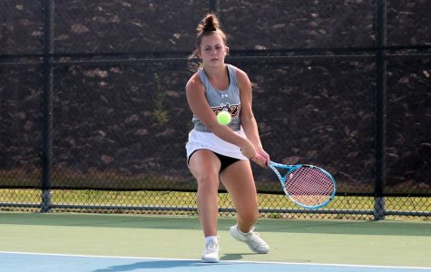 The women's tennis team defeated Chestnut Hill College this past Sunday by a score of 4-3, Sarah Capoferri (pictured above) won the final match to secure the victory.