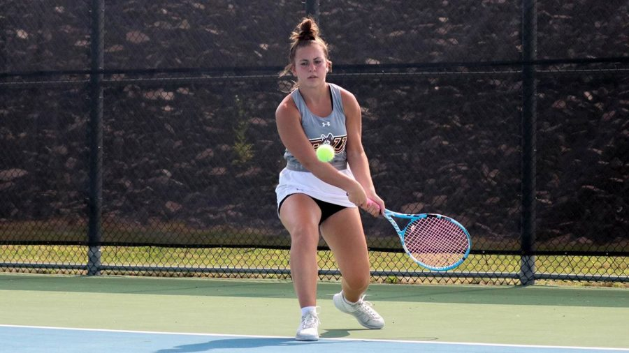 The+women%E2%80%99s+tennis+team+defeated+Chestnut+Hill+College+this+past+Sunday+by+a+score+of+4-3%2C+Sarah+Capoferri+%28pictured+above%29+won+the+final+match+to+secure+the+victory.