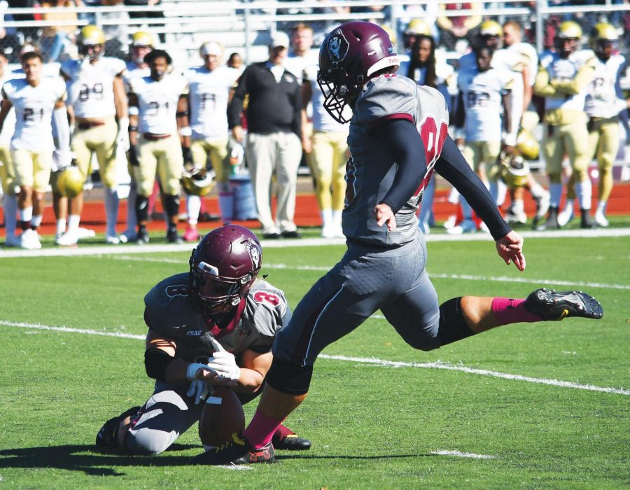 Placekicker Cameron Shollenberger notched two field goals in the upset win over East Stroudsburg this past Saturday afternoon.