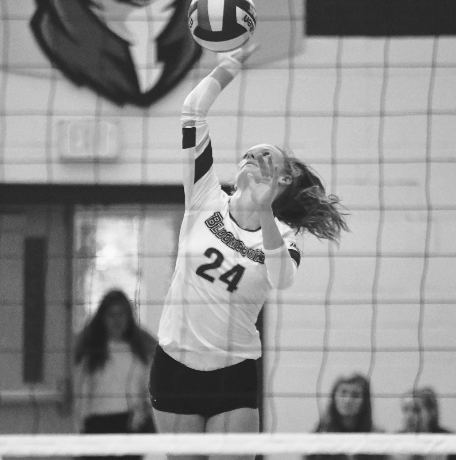 Mary Kate Mooney (pictured above) attempts a kill.