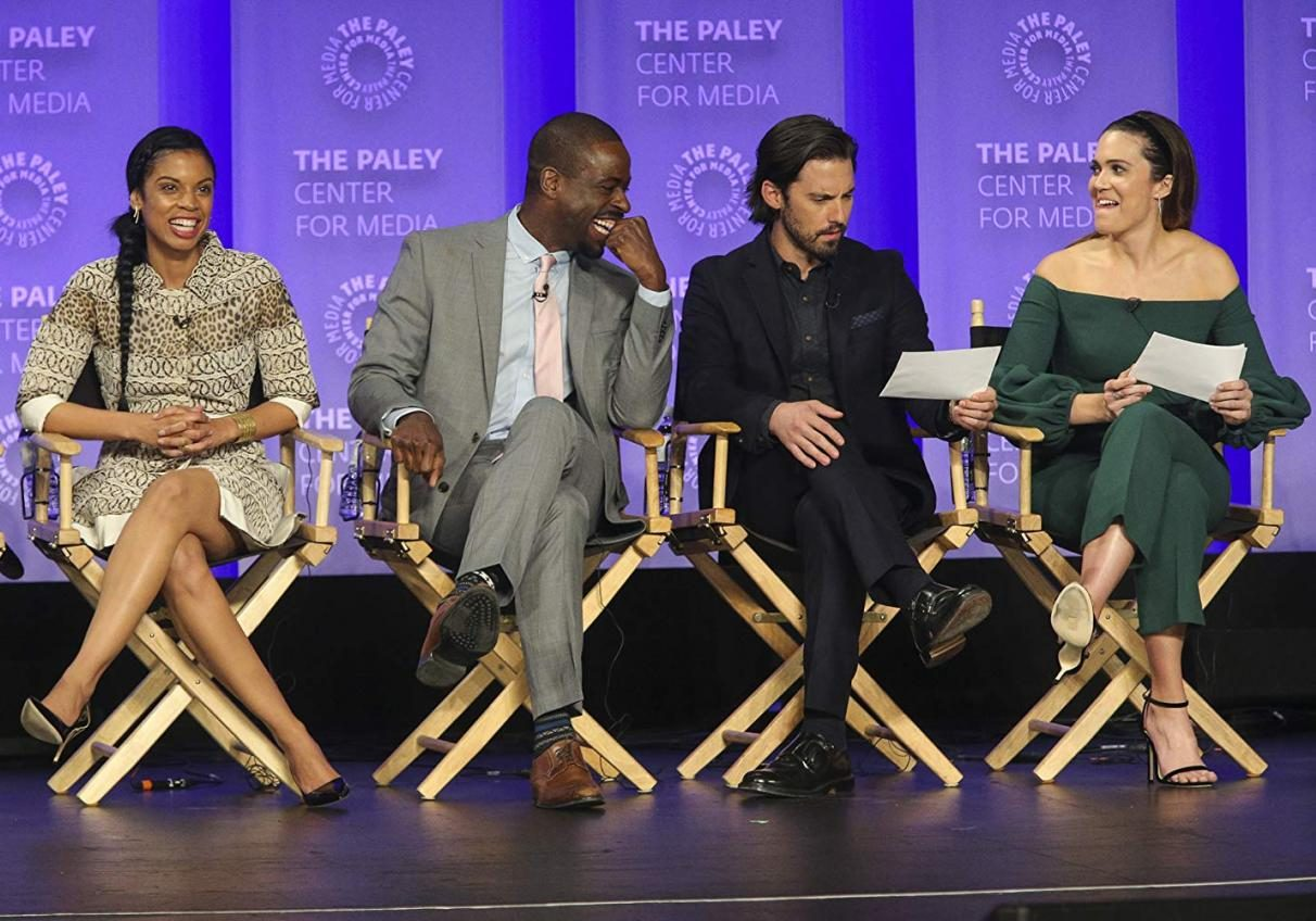 'This is Us' cast (left to right) Susan Kelechi Watson, Sterling K. Brown, Milo Ventimiglia, and and Mandy Moore speaking at panel.