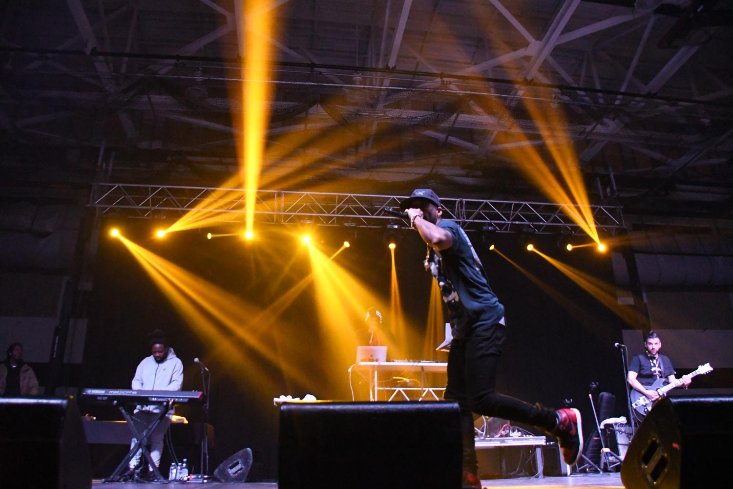 Rapper Tory Lanez during Sunday's concert at the Nelson Field House.