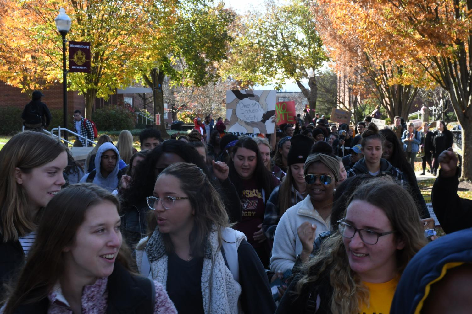 """The protest that took place on the quad had an attendance reported in the thousands per the Press Enterprise. The protest had multiple campus leaders talk through a bullhorn. After the speeches concluded, the protesters circled the quad chanting, """"we want D.I.S."""" D.I.S. stands for diversity, inclusion and safety. After multiple passes around the quad, the march continued down to Carver Hall where the speeches continued."""