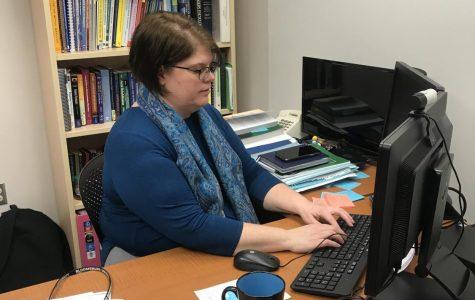Professor Kim Bates is shown here grading our work and videos. This may include comments of what items she has found or providing us with different strategies to use for next assignment.