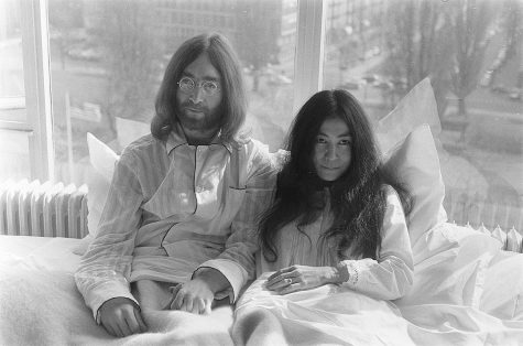 "Lennon with second wife, Yoko Ono, at their ""Bed-In for Peace"" in 1969."