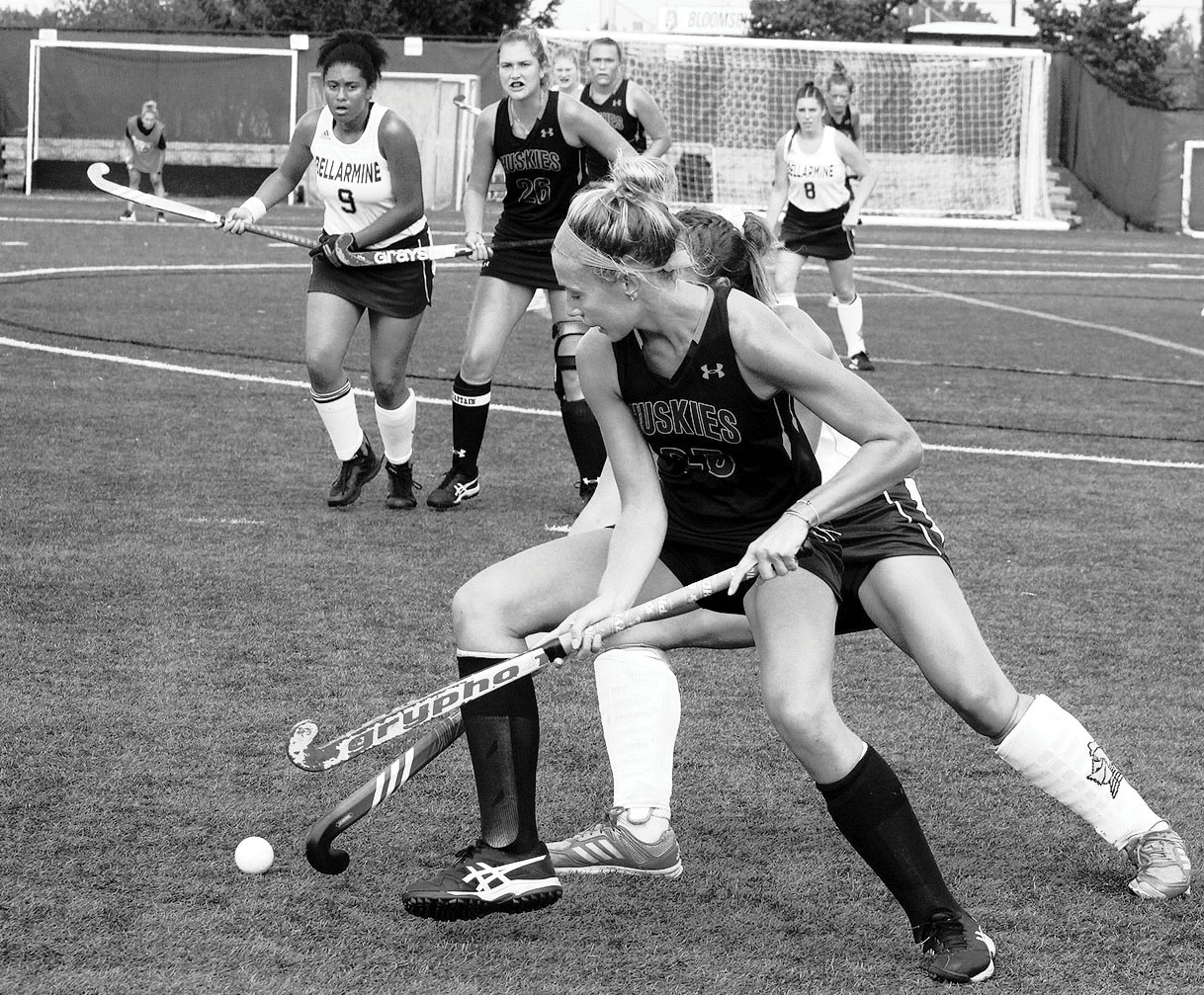 Sophomore Ashley Maxwell defends the ball from Bellarmine.