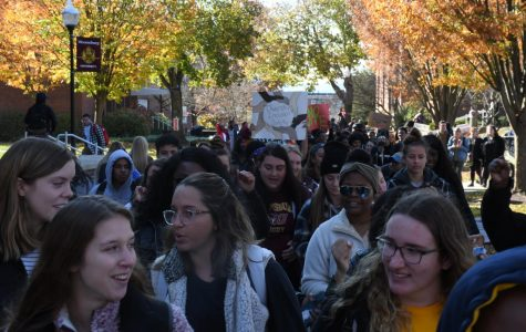 "The protest that took place on the quad had an attendance reported in the thousands per the Press Enterprise. The protest had multiple campus leaders talk through a bullhorn. After the speeches concluded, the protesters circled the quad chanting, ""we want D.I.S."" D.I.S. stands for diversity, inclusion and safety. After multiple passes around the quad, the march continued down to Carver Hall where the speeches continued."