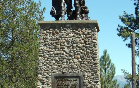 "A memorial at Donner Party State Park in CA. The plaque reads as follows: ""Virile to risk and find; kindly withal and a ready help. Facing the brunt of fate; Indomitable, - unafraid."""