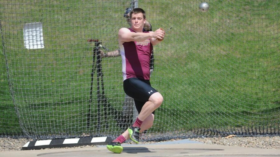 Junior thrower Matthew Hart in the hammer throw.