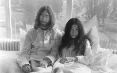 """Lennon with second wife, Yoko Ono, at their """"Bed-In for Peace"""" in 1969."""