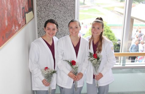 Junior nursing majors, Katherine Ammann (left), Rebecca Sigman, and Morgan Kreider.